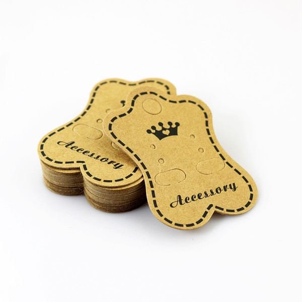 best selling Wholesale 200pcs lot Brown Jewelry Display Packing Card Crown Design Paper Card Fit For Earring Packing Free Shipping
