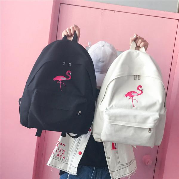 2019 FashionFashion Women Harajuku Flamingo Embroidery Backpack Travel Backpack School Students Canvas Rucksack Popular