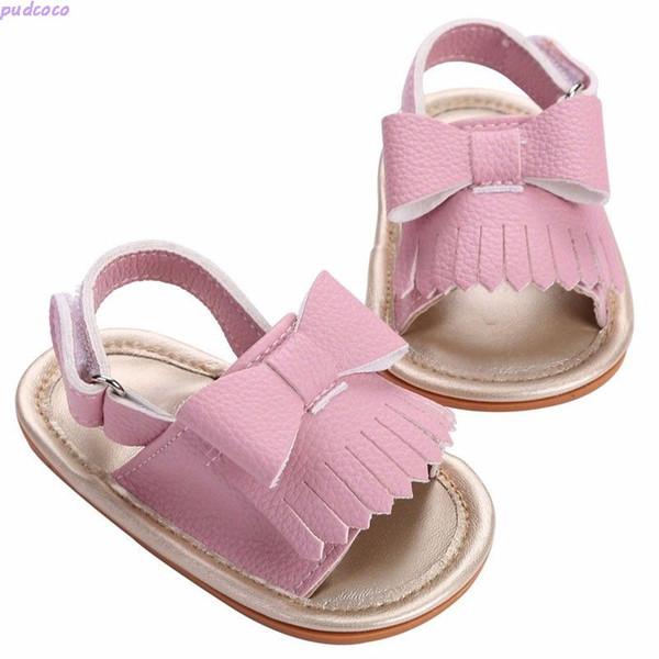 Şık Bebek Yürüyor Boys Kız Yay Yumuşak Sole Yaz Beşik Ayakkabı Sevimli Bebek Kız Püskül Sandalet Boyutu 0- 18 M