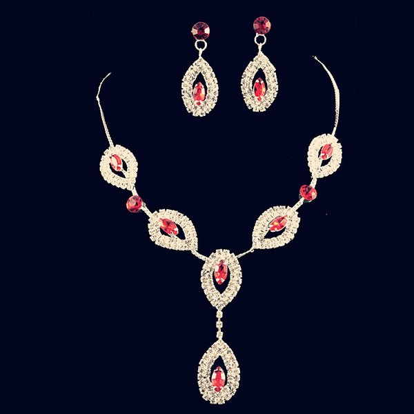 YT012 Wedding Jewelry Necklace Set Fashion Alloy Necklace Red/White/Pink Rhinestone Necklace Set Crystal Jewelry Sets for Brides