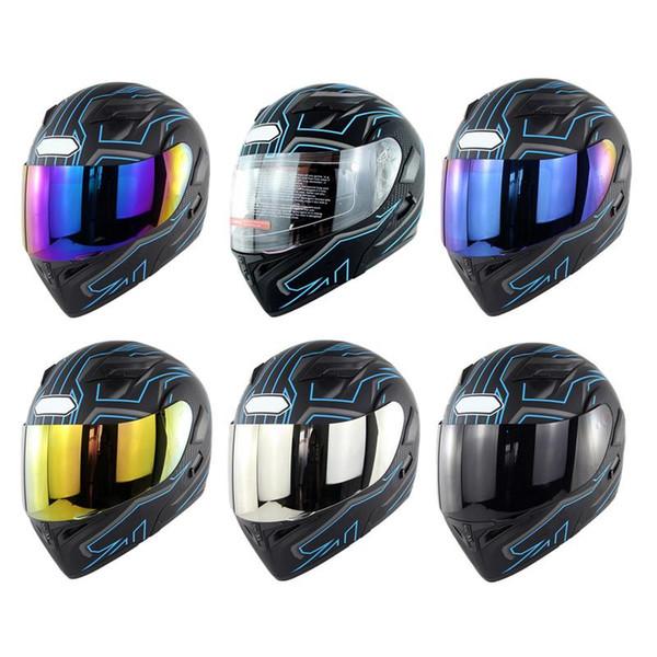 Mavi Yıldırım Soman 955 Çift Lens Motosiklet Tam Yüz Kask Elektrikli Araç Bölüm Kask DOT Standart Hızlı Toka
