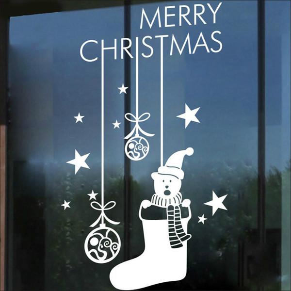 White Snowman Merry Christmas Tree Vinyl Wall Sticker Decals Window Decor Stickers Scrapbooking Kids Wall Decal Sticker