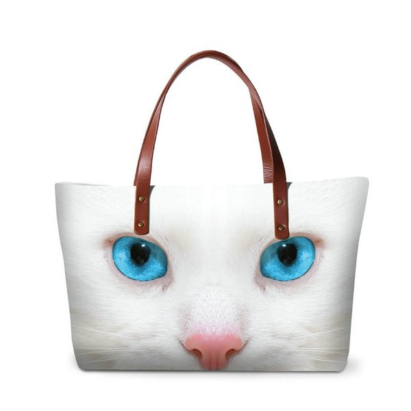 Fashion OL Style Women Handbags Pretty Cat Animal Prints Girls Travel Shoulder Bags Large Capacity Ladies Casual Summer Beach Bag Wholesale