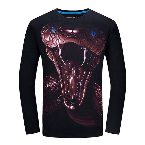 2018 Marca 3d T Shirt Dos Homens Engraçados camisas de t Impresso Manga Longa Slim Fit O Pescoço Casual Streetwear Top Quality camiseta homme 5xl