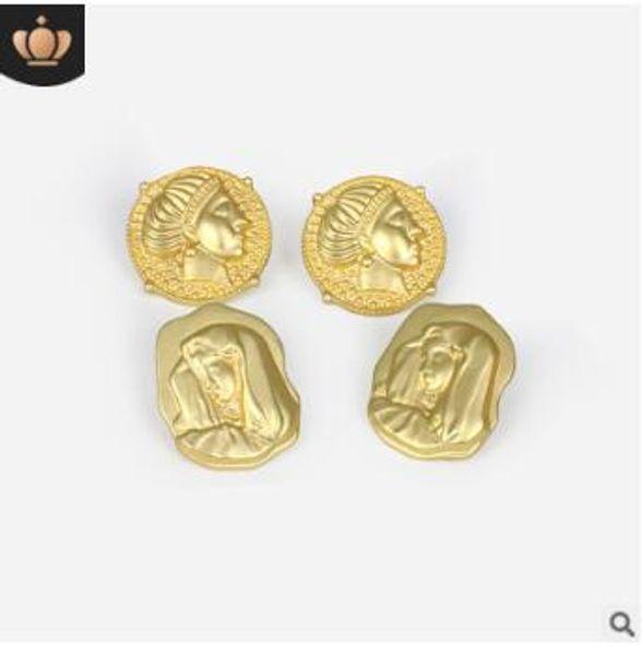 Rétro portrait boucles d'oreilles goujons géométriques vierge marie goujon bijoux cadeaux de fête de noël or argent trois styles 930
