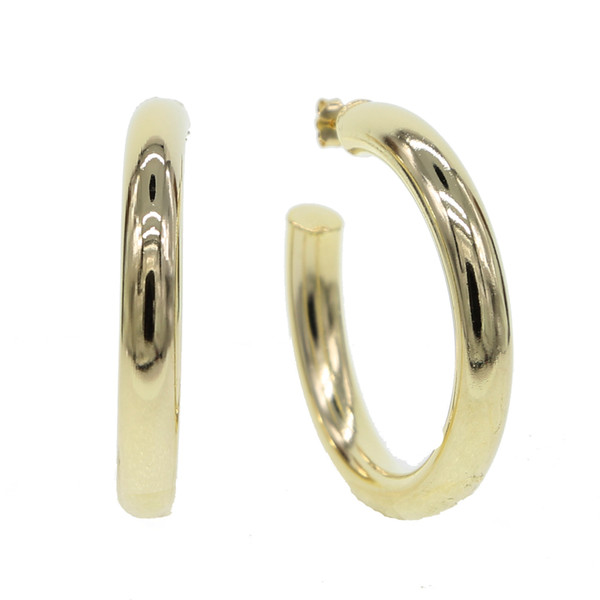 925 sterlilng silver ear pin ear stud brass gold plated polished smooth hoop classic european women hoop earring