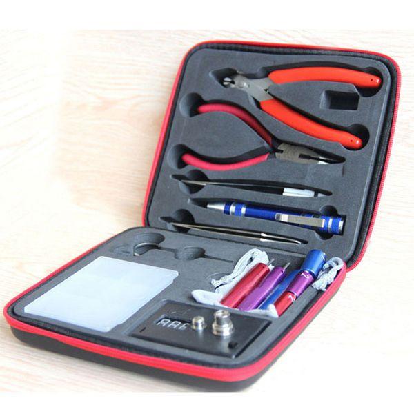 Vape DIY Tool Kit 9 in 1 for RDA RBA RTA Atomizer Building Coil Jig Set Ceramic Tip Tweezers E Cigarette Accessories Kits