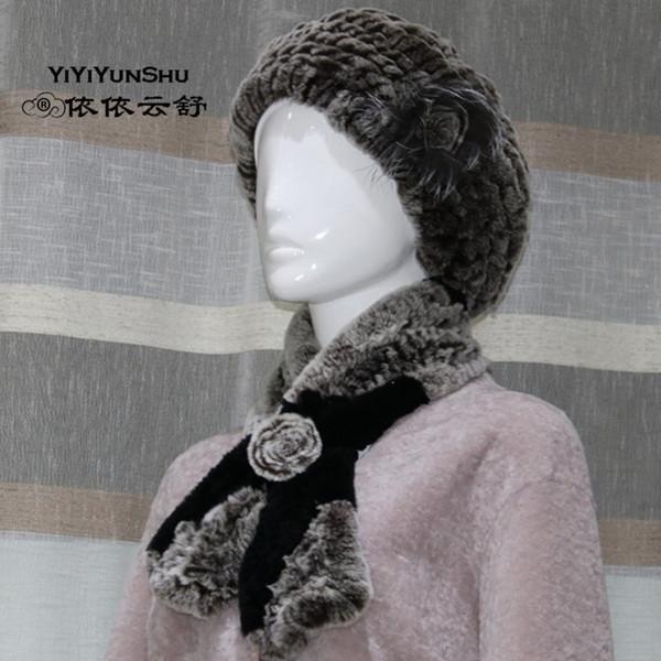 YIYIYUNSHU (Scarf + Hat ) Real Rex Rabbit Fur Beret Hats Scarves For Women Genuine Fur Winter Thick Warm Scarves Caps Set