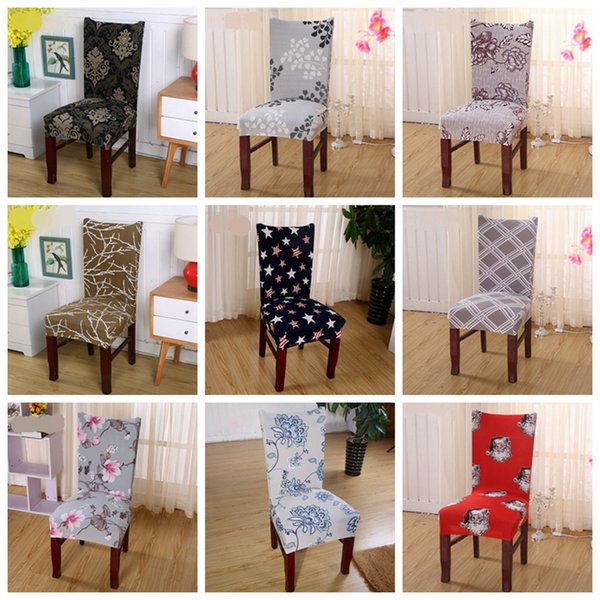 Spandex Chair Covers Elastic Dining Seat Cover Anti-dirty Removable Slipcovers Banquet Wedding Dinner Restaurant Decor 38 Designs YW1521