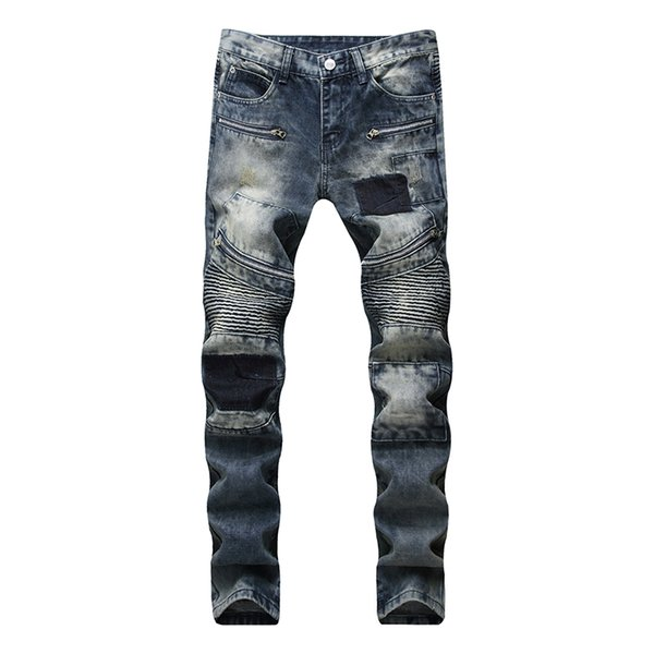 talla 40 925a7 05380 2019 Biker Jean Jeans Men Clothes 2018 Biker Jeans Denim Jumper Full Length  Patchwork Ropa Hombres Moda Nueva Fashion Hip Hop From Vikey13, $56.86 | ...