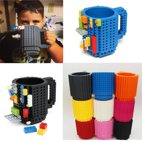 best selling Build-On Brick Mug Building Blocks Mugs DIY Block Puzzle Mug Build-On Brick creative Mug Coffee Cup 350ML Creative decompression cups TO449