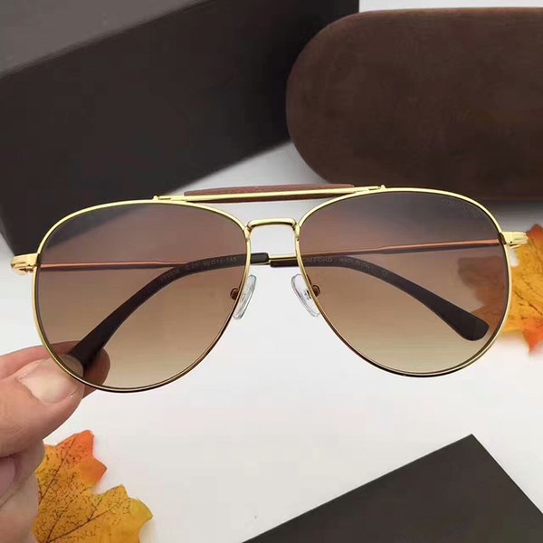 Brand Design Eyewear Alloy Leather Bridge Nose Double Beam Toad Sunglasses FT0536 Driving For Men Women Sun glasses Male Female With box