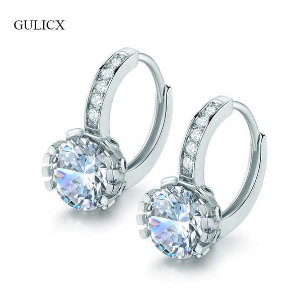 Hoop GULICX New Fashion Silver-Color Women Hoop Earrings Clear/Black/Red Stone CZ Cubic Zirconia Circle Earrings Wedding Jewelry E025