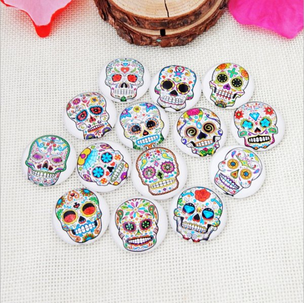 50pcs 2018 HOT selling Colorful skull galss Snap button Charm Popper for Snap Jewelry picture pendant