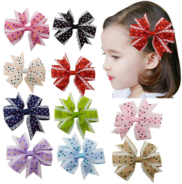 Kids Dots Bow Hair Clips Grosgrain Ribbon Boutique bows For Girls