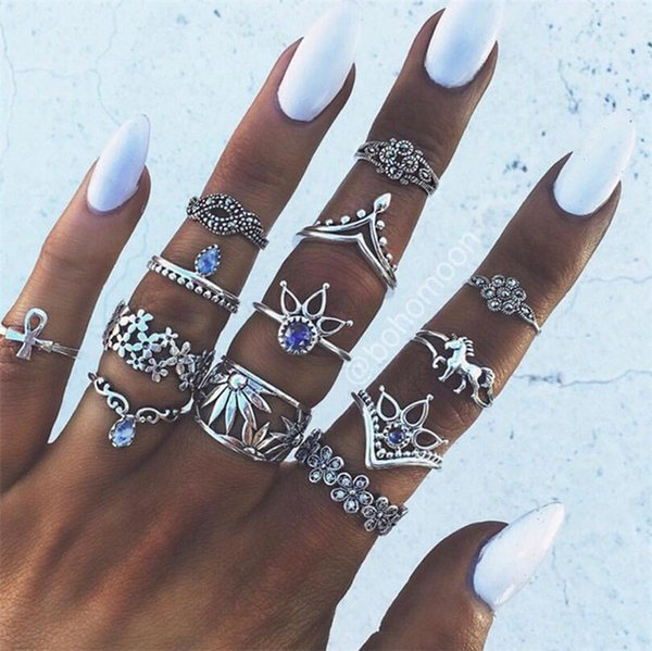 Retro Flower Infinite Knuckle Rings For Women Vintage Geometric Pattern Crystal Rings Set Party Bohemian Jewelry 13 PCS/Set