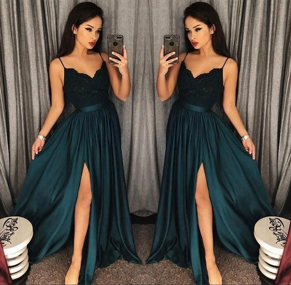 2018 Evening Gowns A-Line Blackish Green High Split Cutout Side Slit Lace Top Sexy Arabic Formal Party Prom Dresses