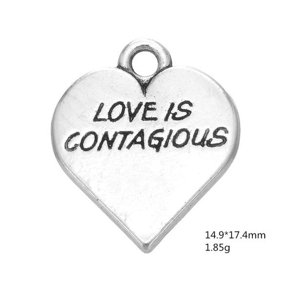 Hand-made Engraved Love Is Contagions Charm Heart Charm pendants for jewelry making diy gifts for lovers