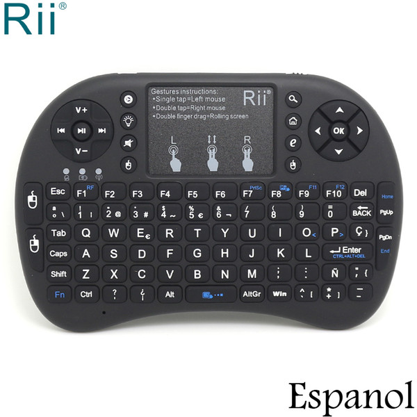 Original Rii i8+ Spanish / Espanol Backlight Mini 2.4GHz Wireless Keyboard+Mouse with TouchPad for Android TV Box/Mini PC/Laptop