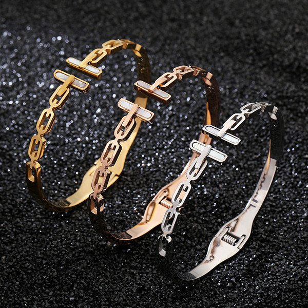 Fashion Women White Shell Double T LetterBracelet 3 Color 18K Gold Rose Gold 316L Stainless Steel Bangle For Daily Best Gift For Anniversary