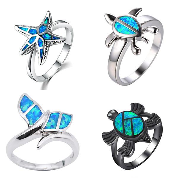 Marcats moda cristal azul opala de fogo mar sereia cauda da baleia anel de dedo para as mulheres feminino preenchido oceano animal jóias presente