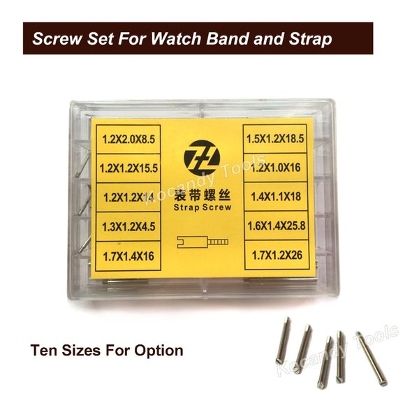 Schrauben Sie Rohr-Rod für Metalluhr-Band 50pcs 10 Größen Edelstahl-Reparatur-Werkzeug-Uhr-Teile 8.5mm - 26mm freies Verschiffen