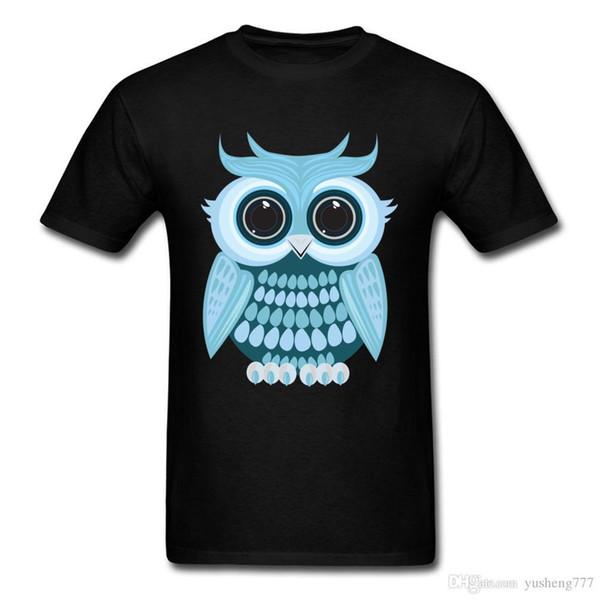 Baby Blue Owl Tops Quality Summer Tops Tees Cute Owl Printed On Boys T Shirt Customized Student Tshirts Plus Size 3XL Sweatshirt