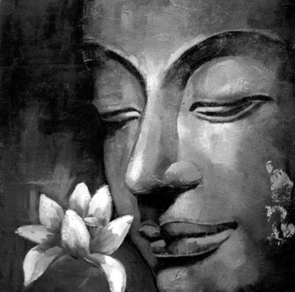 Feng Shui Zen Bouddha Peint À La Main peinture À L'huile Mur Art sur Toile Noir et blanc Abstrait Moderne Contemporain pour Salon Home Decor H70
