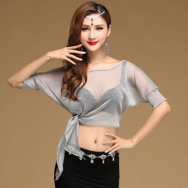 Sexy Belly Oriental Dance Mesh Tops Shirt Costume for Women Eastern Bellydance Indian Dancing Clothes Dancer Wear Batwing Sleeve