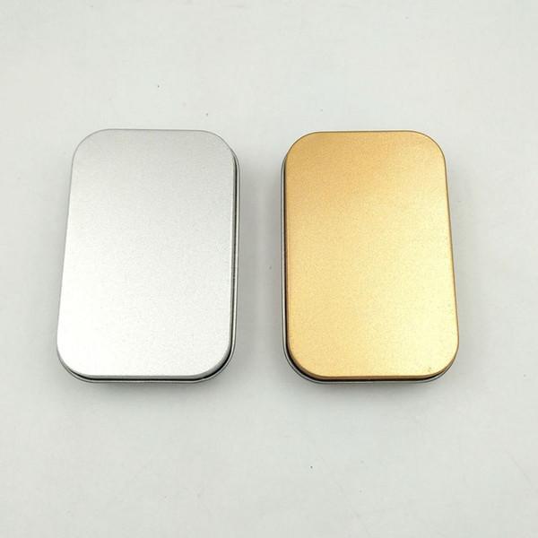 Estanho Caixa Vazio de Prata / ouro Caixa De Armazenamento De Metal Caso Organizador De Dinheiro Moeda Doces Chaves U disco fones de ouvido caixa de presente