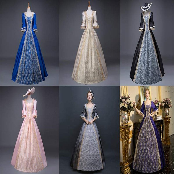 Customized 2018 Fashion multicolour Vintage Southern Belle Dress Civil War Marie Antoinette Ball Gown Birthday Party Costume Fast delivery