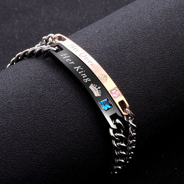 top popular Hot Selling High Quality Titanium Steel Bracelet Jewelry Her King His Queen Her Beast His Beauty Lover Bracelet & Bangle for Women Men 2019