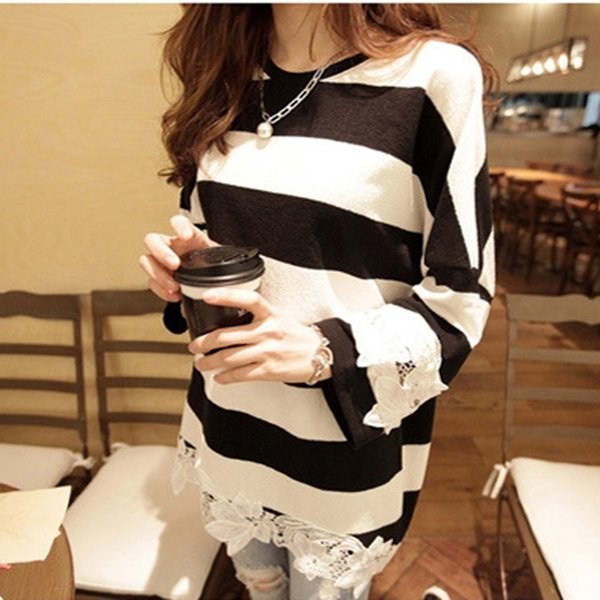 2018 Spring T Shirt Lace White And Black Striped T Shirt Women High Quality Cotton Tops Long Sleeve Female Loose Clothing