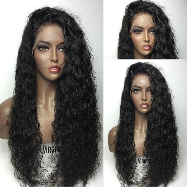 Pretty cheap sexy 100% unprocessed raw virgin remy human hair long natural color water wave full lace cap wig for women