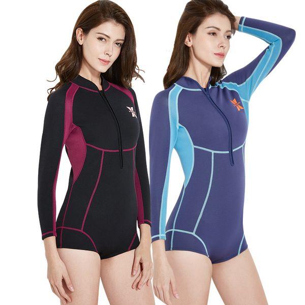 1.5mm neoprene women's long sleeve wetsuit one piece diving suit neoprene surfing snorkelling wear 3 colors