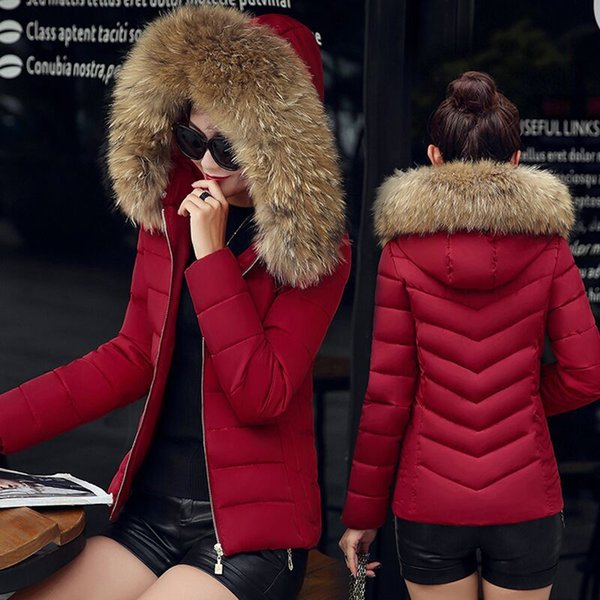Fashion Down Winter Jacket Women Hooded Cotton parkas womens warm jackets Winter plus size Coat With Big Fur Hoody Cheap Short Parkas M-4XL