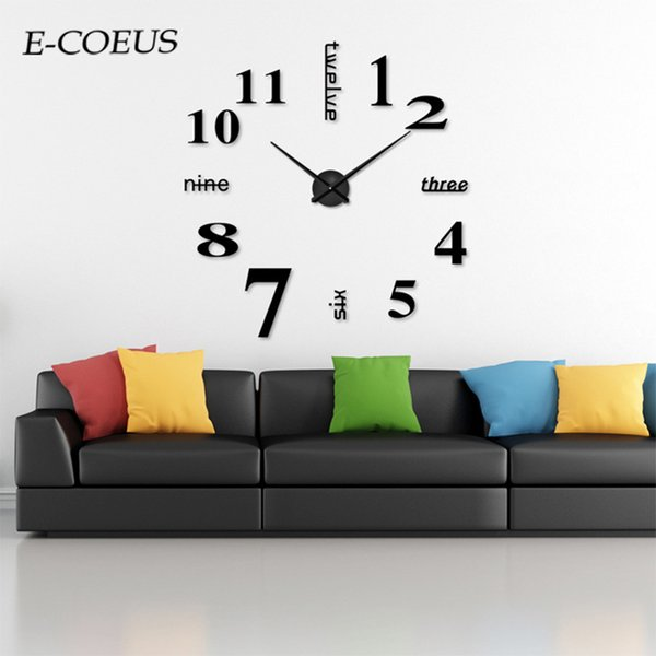 New Modern Design Wall Clock Type Home Decoration Big Mirror 9mm Sheet Decorative Digital Wall Clocks Watch Unique Gift
