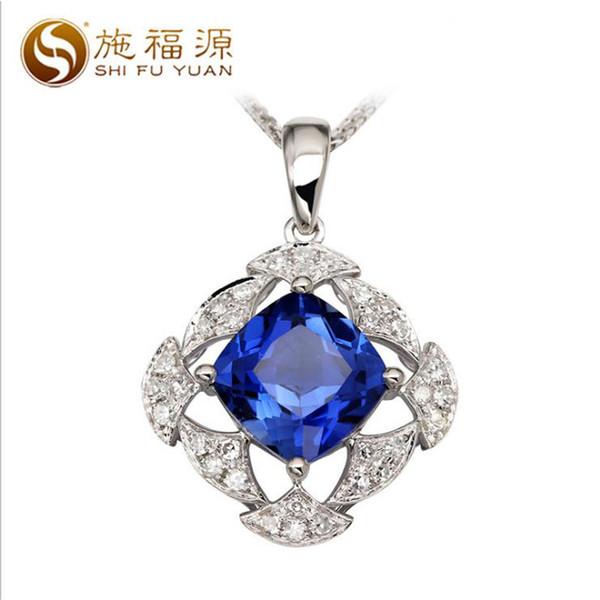 ShiFuYuan katı 18 k beyaz altın doğal mavi Spinel ile 0.256ct elmas kolye kolye güzel takı hediye için S04588P