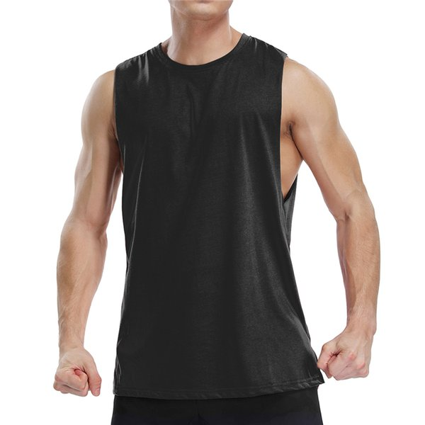 Workout Muscle Tank Top Summer Man Bodybuilding Gyms Vest Casual Mens Gym Fitness Clothing Black Loose Slim Fit Sleeveless Tank Tops Tees