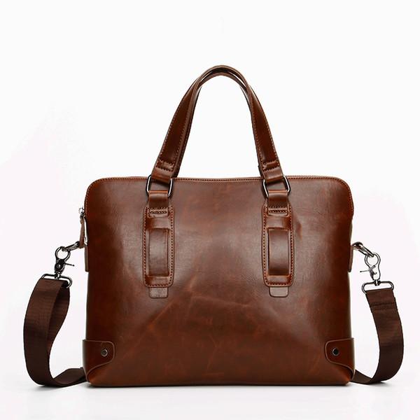 Vintage Business Shoulder Bags Leather Briefcase Men Messenger Bags Leisure Men's Travel Handbag Laptop Bag Male Crossbody Bag