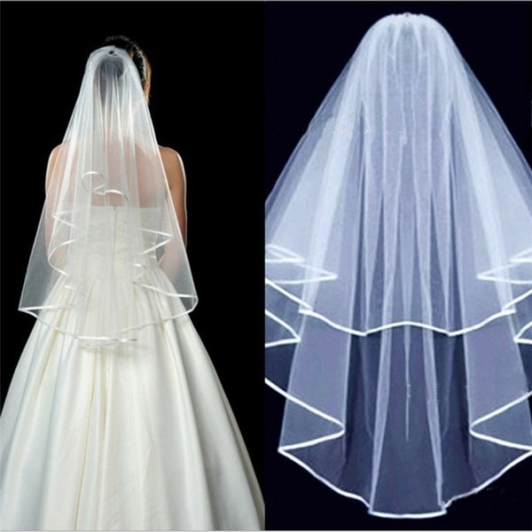 Wedding Veil Ivory Simple White Two Layers Tulle Bridal Wedding Veils With Comb Ribbon Edge 2018 Wedding Dress Cover Fingertip Length Veils