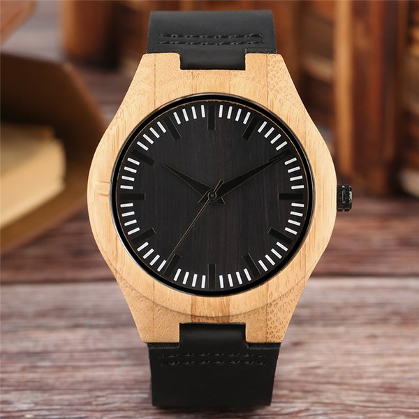 High Quality Zebra Dial Natural Wooden Wood Watch Black Leather Strap Analog Men's Quartz Wrist Watches Casual Sports Watch Gift Clock