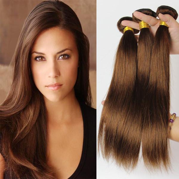 Brasilianisches gerades Menschenhaar bündelt unverarbeitete Remy Haarverlängerungen hellbraune Farbe 4 # 100g / pc kann gefärbt werden