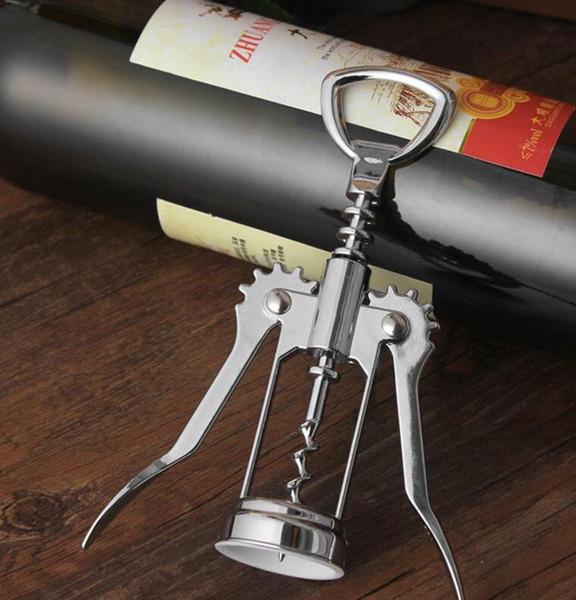 Abridor de Garrafa de Vinho de aço Inoxidável quente Lidar Com Pressão Saca-rolhas Abridor De Vinho Tinto Acessório Da Cozinha Bar Ferramenta Asa Saca-rolhas abridor wn402