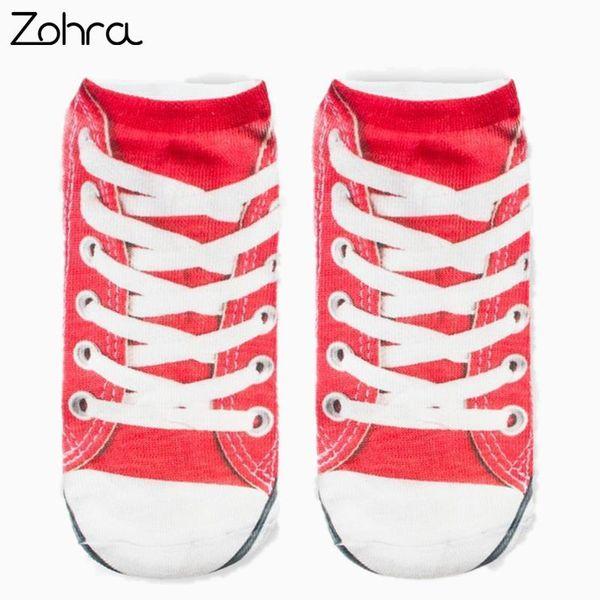 Zohra Tuval ayakkabı Grafik 3D Tam Baskı Unisex Low Cut Ayak Bileği Çorap Birden Renkler Pamuk Çorap Rahat Çorap