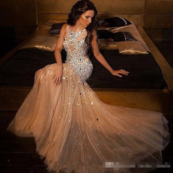 New Sparkly Beaded Crystal Mermaid Prom Dresses 2018 Plus Size Champagne Tulle Prom Gowns For Women Pageant Gowns evening dresses