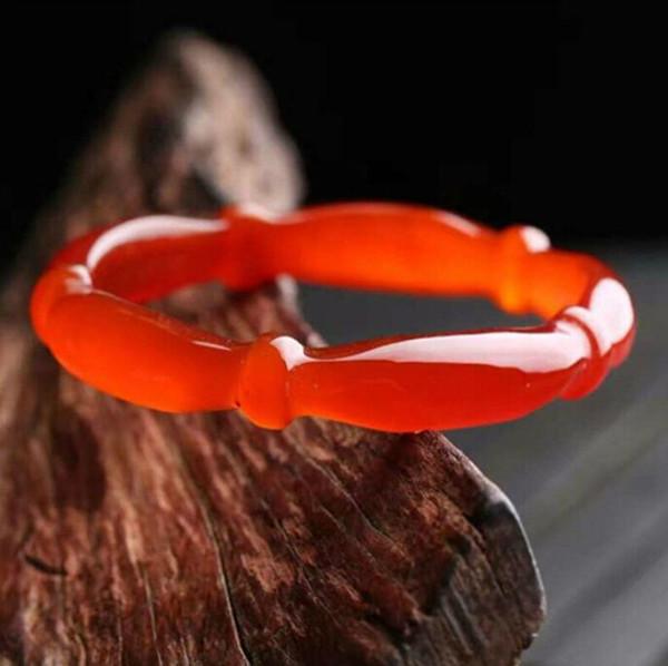 Ice red agate chalcedony bracelet bracelet jade bamboo style Shi Shangyu lady gift
