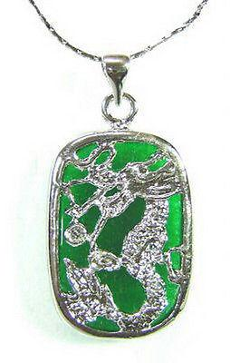 Wholesale Emerald Green Jade White Gold Plated Dragon Tablet Pendant and Necklace