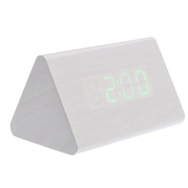 012-12 creative alarm Shaped Voice Activated Green LED Digital Wood Wooden Alarm Clock with Date /Temperature (Ivory)