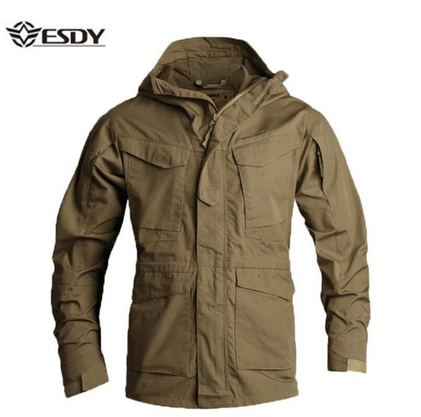 32d1ff7244fad ESDYMen's Jacket US Army Climbing Tactical Clothing UK M65 Fall Winter  Flight Pilot hooded Coat Field